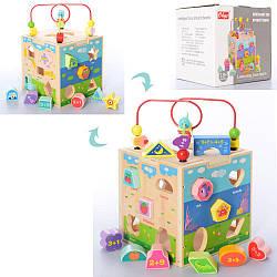 Дерев'яна іграшка Центр розвиває MD 2812 (12шт) куб, лабіринт, сортер, фігурки, в кор, 18-18-18см