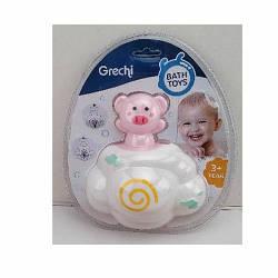 Іграшка G403-2 (96шт) для купання, тварина на хмарі (порося) -14см, в слюди, 19-22-9см