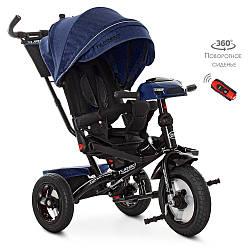 Велосипед M 4060HA-11L (1шт) три кол.резіна (12/10) коляс, поворот, USB / BT, світло, торм, пульт, темн.сін
