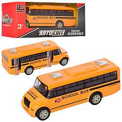 Автобус AS-2198 (48шт) АвтоСвіт, 1: 32, метал, інер-й, 13см, шкільний, рез.колеса, в кор-ке, 16,5-7-7см