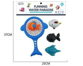 Іграшка G-B012 (72шт) для купання, акула-сачок, морські тварини-пищалка, 3шт, в кульку, 25-35-6см