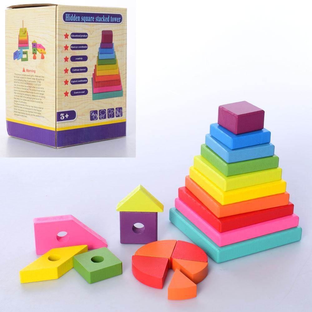 Дерев'яна іграшка Пірамідка MD 2824 (30шт) геометріч.фігури 20шт, в кор-ке, 11-15,5-10,5см
