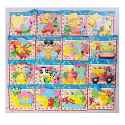 Дерев'яна іграшка Пазли MD 2441 (120шт) 15відов (тварини, транспорт), в кульку, 16-18-2см