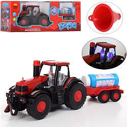 Мыльные пузыри 1518  трактор-ездит,муз,св,выдув.мыльн.пуз,запаска,на бат,в кор-ке, 41-16-13см