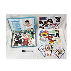 Дерев'яна іграшка Гардероб MD 2828 (24шт) магнітний, набор3шт, маркер, картки, в кор-ке, 27-20-4см