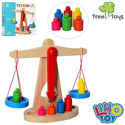 Дерев'яна іграшка Ваги MD 0920 (36шт) гирі 6шт, в кор-ке, 24-23-10см