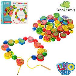 Дерев'яна іграшка Шнуровка MD 1009 (48шт) фрукти, овочі, ягоди, в кор-ке, 28-21-3,5см