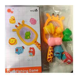Іграшка 7729-6C (48шт) для купання, сачок-жираф, тварина 6шт, в кор-ке, 16-30-6,5см