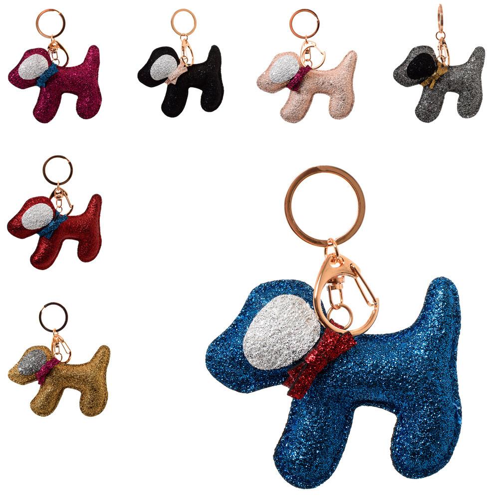 Брелок 1120-15 (600шт) собачка, 12см, блискітки, мікс кольорів, в кульку, 9-8-2,5см