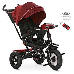 Велосипед M 4060HA-1L (1шт) три кол.резіна (12/10) колясочні, поворот, USB / BT, світло, торм, пульт, червоний