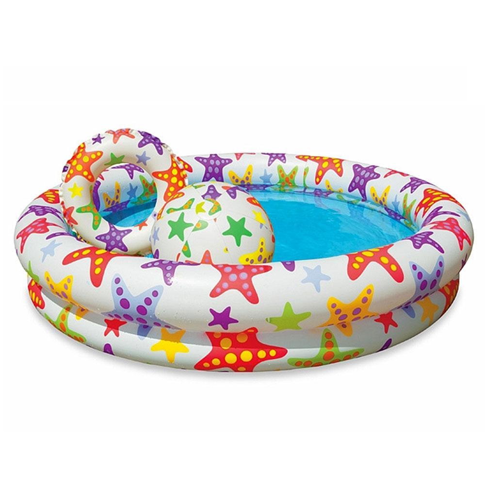 Бассейн 59460  Круг, детский, 122-25см,156л,мяч,круг,ненадув.дно,ремкомплект,