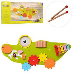 Дерев'яна іграшка Бізіборд MSN17077 (10шт) крокодил, ксилофон, тріскачка, лабіринт, в кор, 61-32,5-5,5см