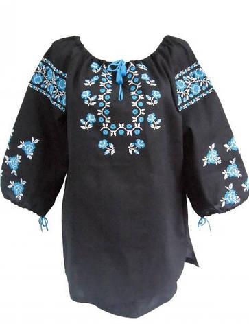 Женская вышиванка черный лён, натуральный, фото 2