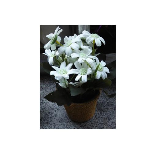 Декор T15-11 (75шт) квіти, 17см, в горщику, 3 кольори, в кор-ке, 10,5-22-10,5см
