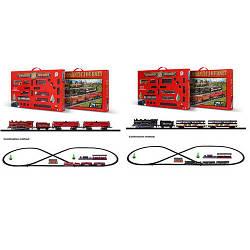 ЖД 1638DE  локомотив12см-едет, вагон3шт, станция, дерево, 2вида, на бат,в кор-ке, 50,5-31,56см
