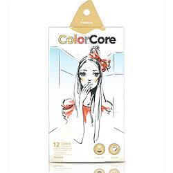 Карандаши 12 цветов круглые d=4.0+1 графитный НВ , ColorCore (new), Marco