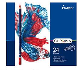"""Олівці 24 кольори шестигранні в метал.пеналі,Chroma,8010-24TN,ТМ""""Marco"""""""