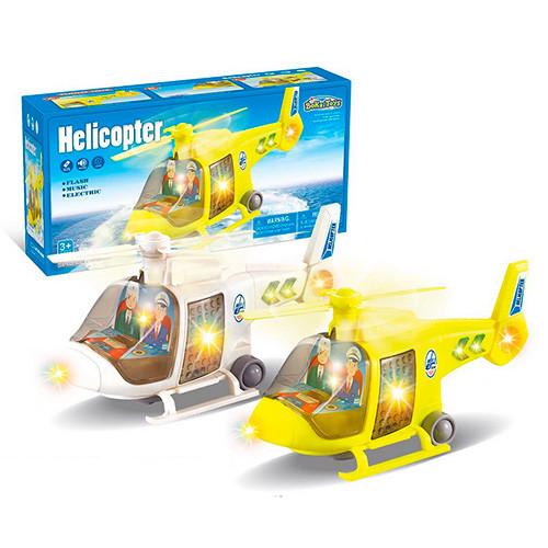 Вертоліт 1093A (72шт) 27см, світло, проектор, їздить, вращ.вінт, 2цвета, на бат-ке, в кор-ке, 28,5-14,5-10см