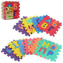 Килимок Мозаїка M 2609 (10шт) EVA, алфавіт (укр) і цифр, 10дет (10мм, 31,5-31,5см), масажний, 6текстур, пазл,