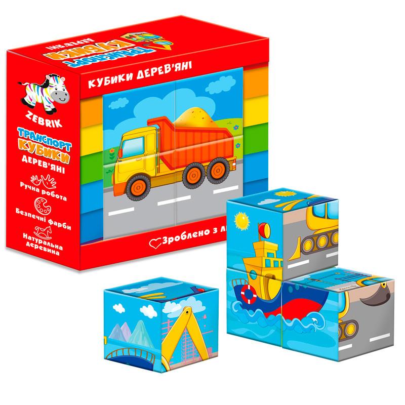 Дерев'яні кубики. Транспорт ZB1001-03 (укр)