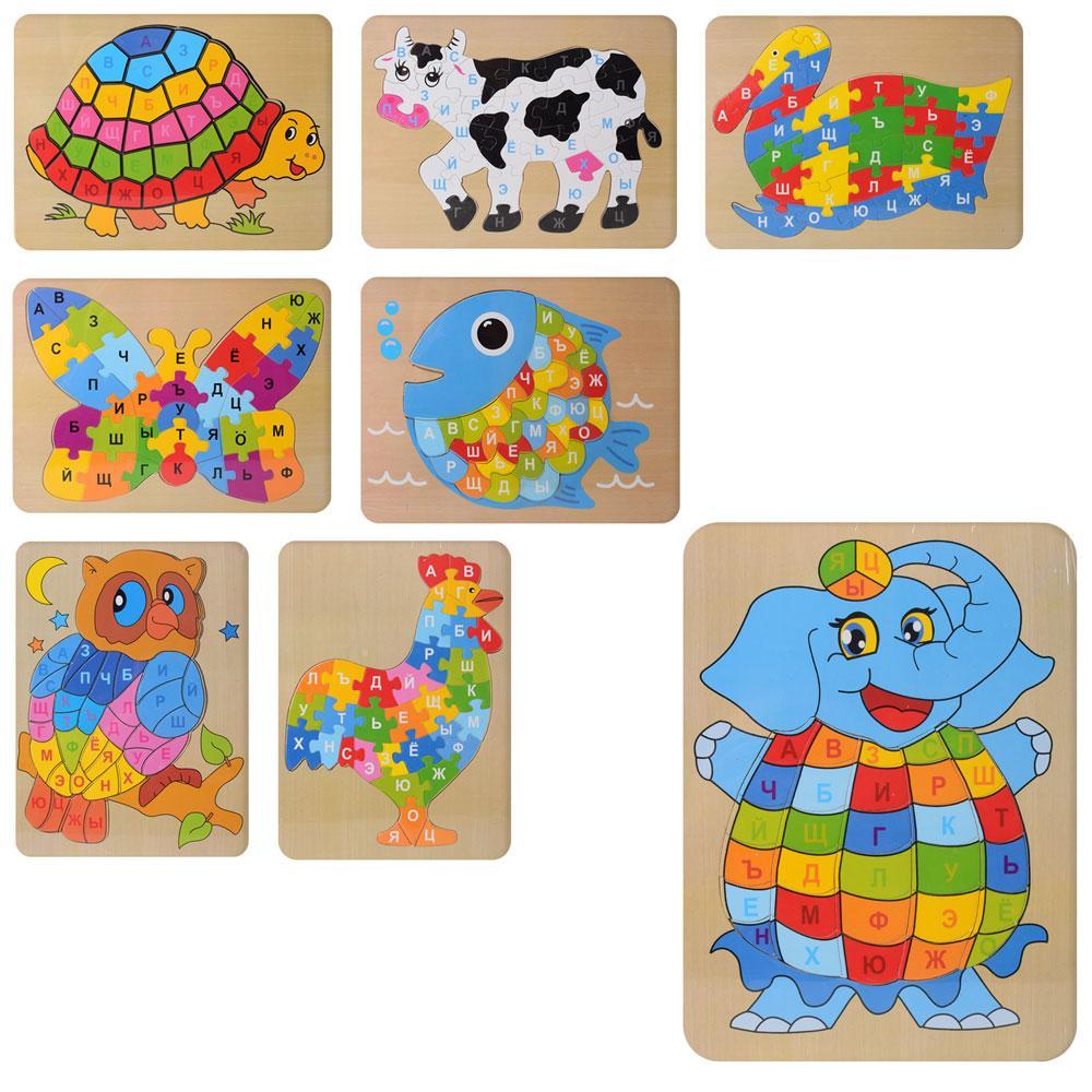 Деревянная игрушка Пазлы MD 2020  животные, буквы(рус), 6видов, в кульке, 30-23-0,5см