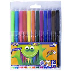 Фломастери, 12 кольорів, SMART