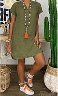 Женское летнее платье из льна батал, Платье женское свободного кроя, Платье выше колен на лето большой размер