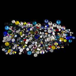 Стрази скляні сині різних розмірів S3-SS12 1440 штук
