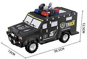 Скарбничка машинка Хамер, сейф инкасатор ЛЕГО з кодовим замком і відбитком. Машина інкасації LEGO.