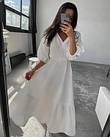Женское летнее платье-миди свободного кроя. Размер: 42-44, 46-48. Цвет: белый.