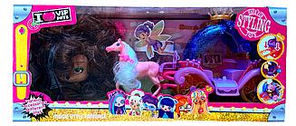 Игровой набор Питомец с длинными волосами с каретой РР 1010 со свето-звуковым эффектом