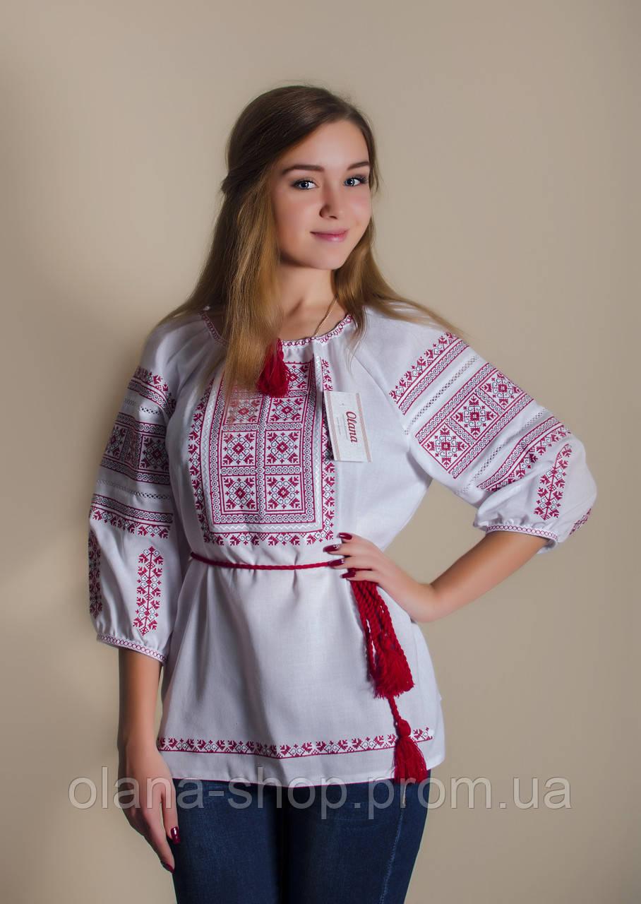 6c3a4b2baf32f9 Стильна жіноча вишиванка у білому кольорі із чеоврним геометричним  орнаментом «Катерина»