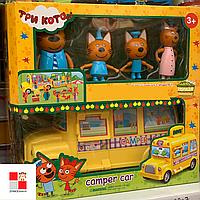 Набор героев Три кота школьный автобус, машина с мебелью 8805