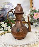 Коллекционный медный восточный кувшин ручной работы, медь, Германия, 24 см, фото 7