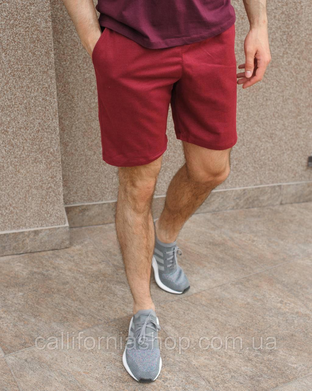 Шорти чоловічі тканинні бордові літні легкі