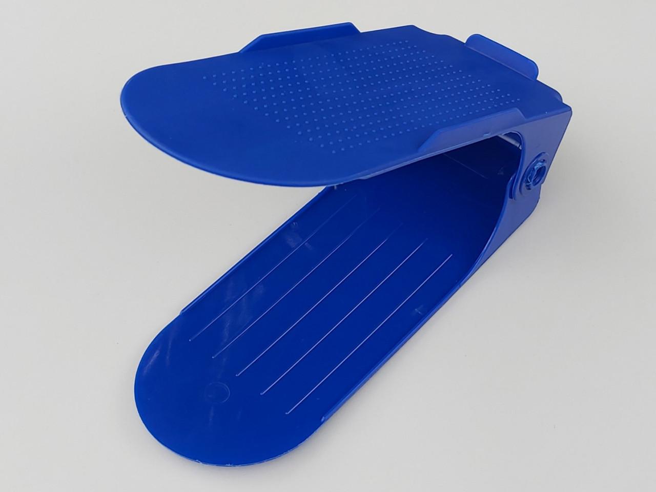 Двойная подставка-органайзер для обуви синего цвета. 3 положения регулировки высоты.