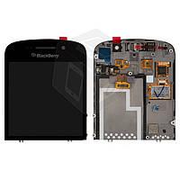 Дисплейный модуль (дисплей + сенсор) для Blackberry Q10, с рамкой, черный, оригинал