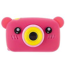 Детский цифровой фотоаппарат Мишка розовый