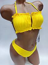 Молодежный купальник со сборкой на лифе Sisianna 31851 желтый на 42 44 46 48 50 размер, фото 2