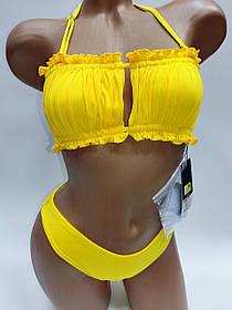 Молодежный купальник со сборкой на лифе Sisianna 31851 желтый на 42 44 46 48 50 размер