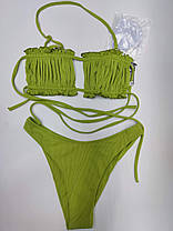 Молодежный купальник со сборкой на лифе Sisianna 31851 зеленый на 44 46  размер, фото 3
