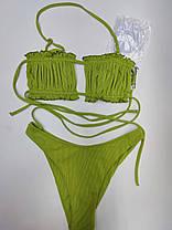 Молодежный купальник со сборкой на лифе Sisianna 31851 зеленый на 44 46  размер, фото 2
