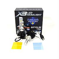 Автомобильные LED лампы H7 6000K 50W X3 Philips (ЛЕД автолампы с активным охлаждением ip67)