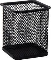 Подставка для ручек квадратная металлическая черная