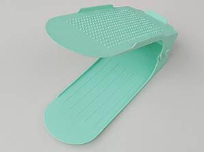 Двойная подставка-органайзер для обуви бирюзового цвета. 3 положения регулировки высоты.