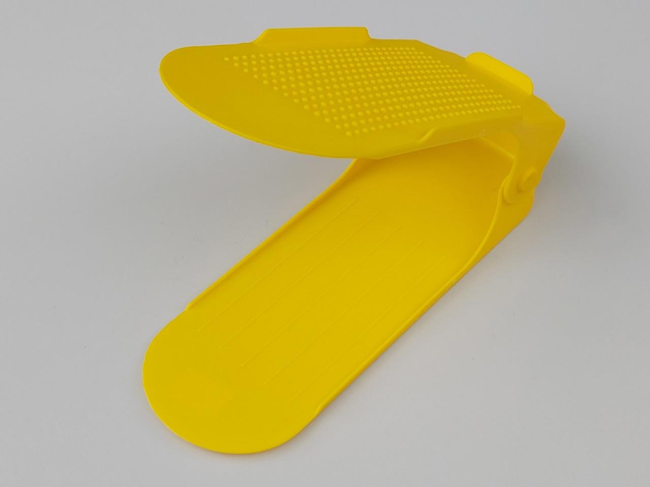 Подвійна підставка-органайзер для взуття жовтого кольору. 3 положення регулювання висоти