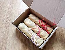 Свічки із вощини ручної роботи в подарунковій упаковці h13 см d3 див. 3шт. Свічки з бджолиного воску ручної роботи