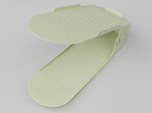 Двойная подставка-органайзер для обуви фисташкового цвета. 3 положения регулировки высоты.