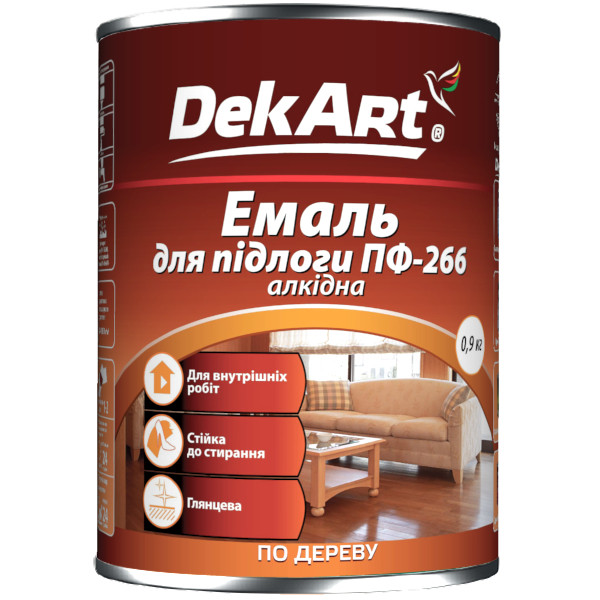 Емаль алкідна ПФ-266 DekArt червоно-коричнева - 0,9 кг