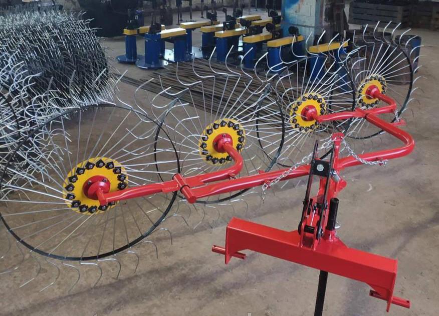 Граблі для мототрактора, мінітрактори сонечко на 4 колеса Шип (причіпний 3 точки)